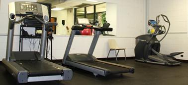 Cardio equipment in a gym