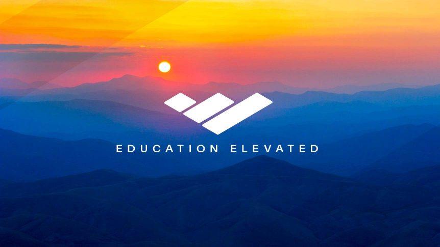 "sun over mountains; Blue Ridge Community College brand mark; Caption: ""Education Elevated"""