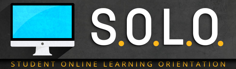 "Caption: ""S.O.L.O. Student Online Learning Orientation"" computer monitor icon"