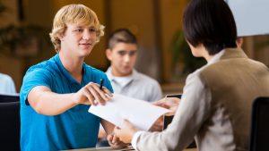 student interviews at job fair