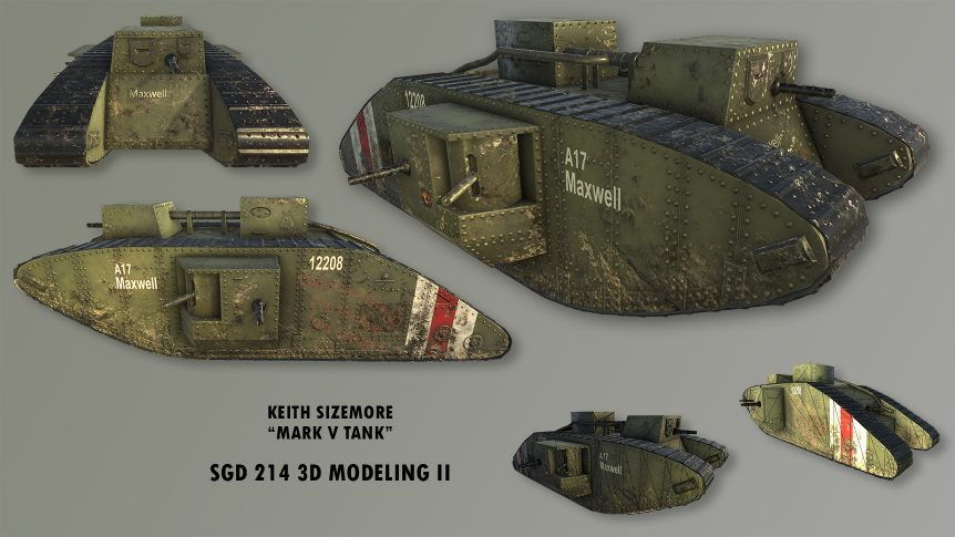 student depiction of a British Mark 5 tank of world war one vintage