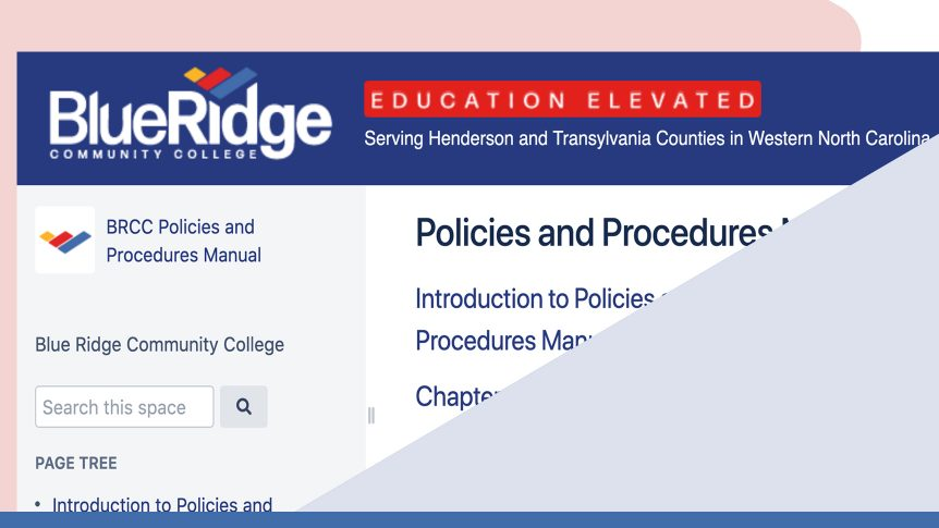 scrreenshot of Blue Ridge Community College's online Policies and Procedures Manual