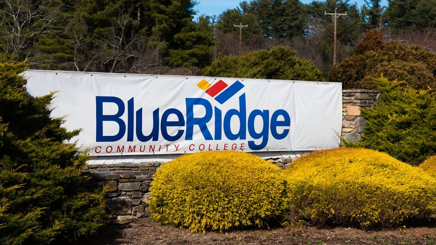 the blue ridge community college entrance sign