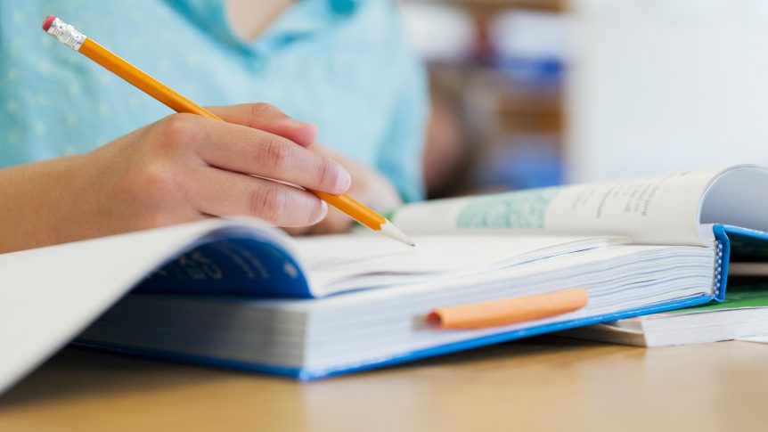 Student studying holds pencil, has notebook and textbook