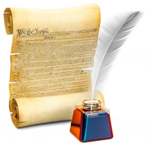 Constitution parchment document with quill and ink