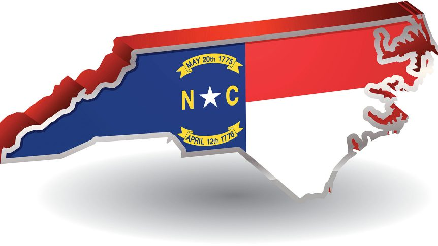 A 3-D flag icon of the North Carolina state flag in the shape of the state of north carolina