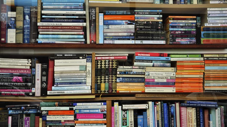 different kinds of books on bookshelves