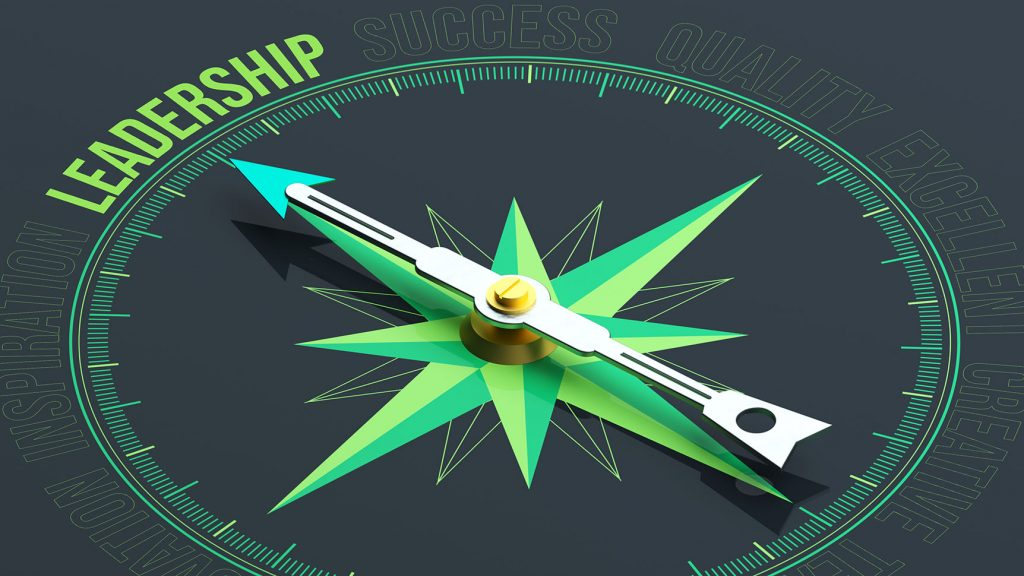 A compass with the word leadership where north would usually be