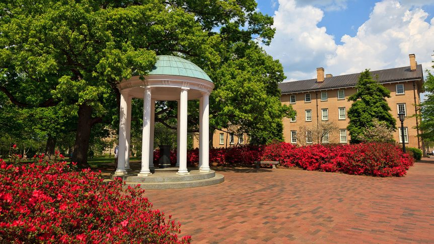 The Old Well at U N C Chapel Hill in the spring with azalea blooms