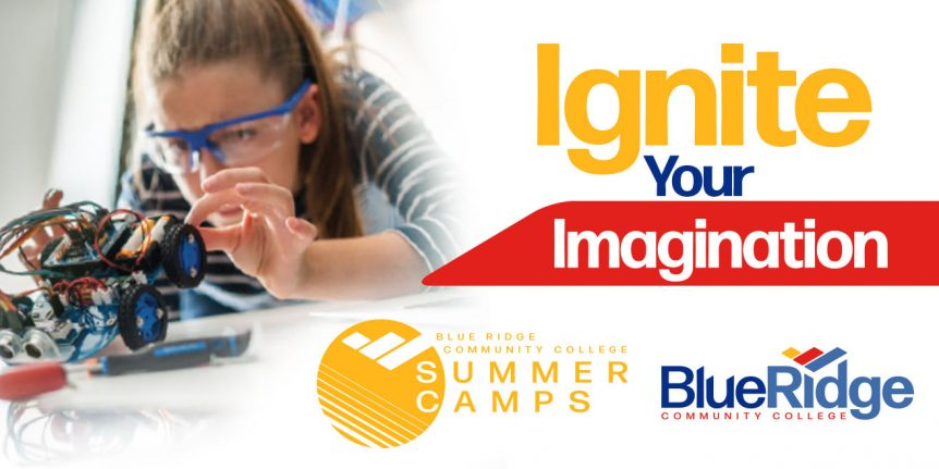 "Caption: ""Ignite Your Imagination,"" Blue Ridge Community College Summer Camps logo"
