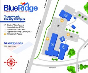 Map shows TCC outside WiFi Locations: in front of Straus, Student Welcome Center and TRCT