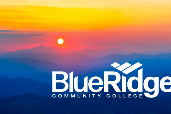 sunrise on mountains with Blue Ridge Community College logo