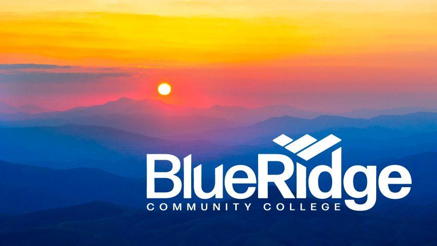 sunrise on mountains with Blue Ridge Community College logo