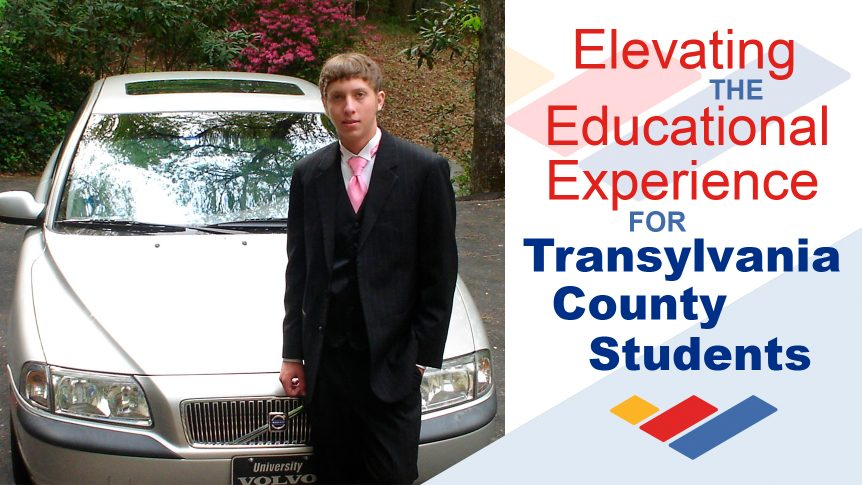 """Caption: """"Elevating the Educational Experience for Transylvania County Students,"""" image of J. Daniel Furr standing next to vehicle"""