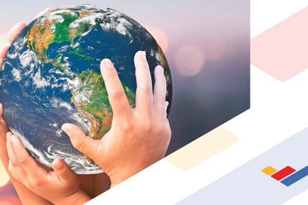 Hands hold the earth / globe; Blue Ridge Community College brand mark