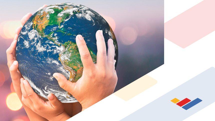 Hands hold the earth / globe; Blue Ridge Community College brand mark