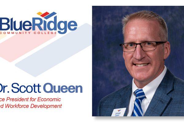 portrait Dr. Scott Queen, Vice President for Economic and Workforce Development,Blue Ridge Community College logo