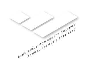 Blue Ridge Community College brand mark; BLUE RIDGE COMMUNITY COLLEGE ANNUAL REPORT | 2018-2019