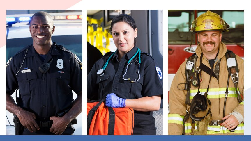 Smiling policeman in uniform, smiling emergency medical worker woman in uniform, smiling firefighter in uniform