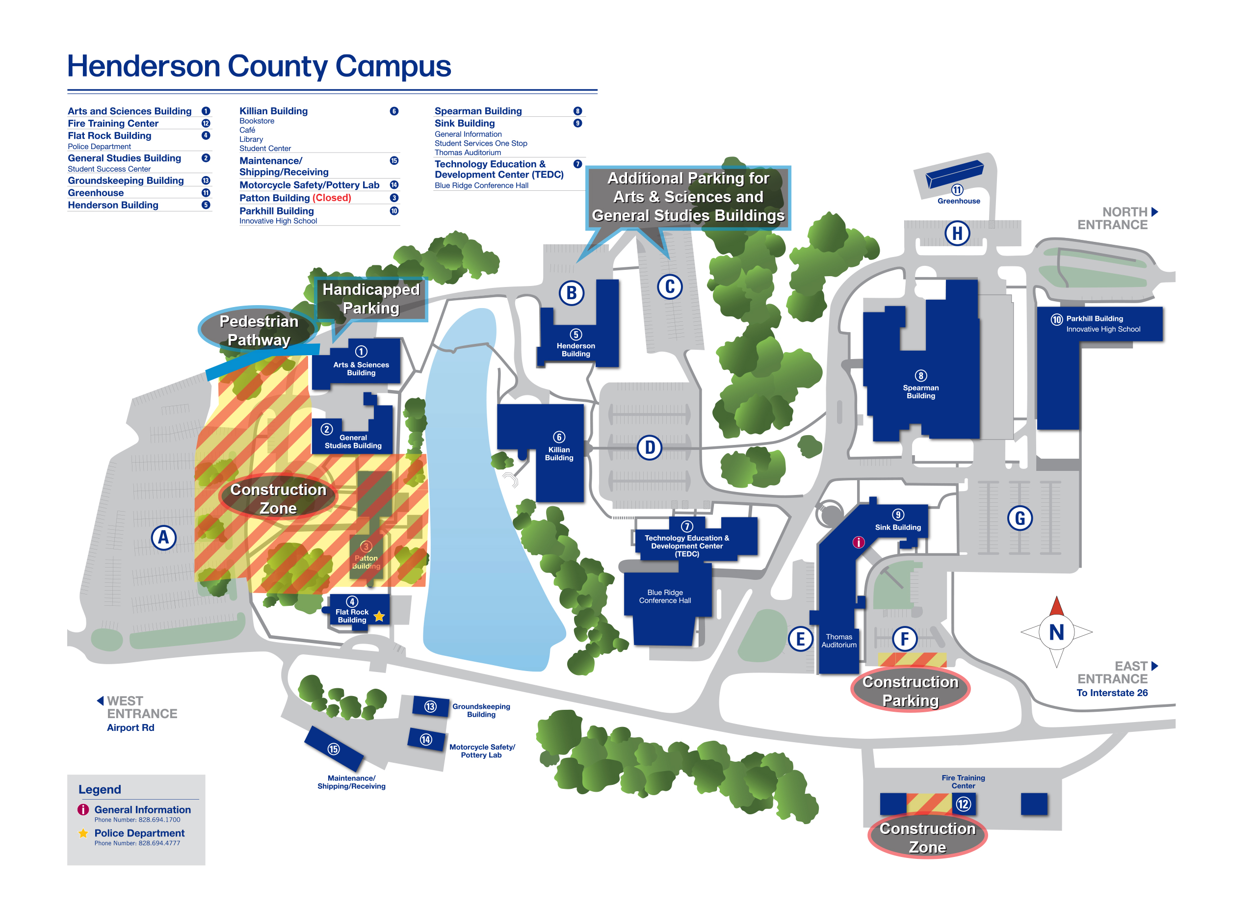 Blue Ridge Community College Campus Map (large) shows areas closed for construction