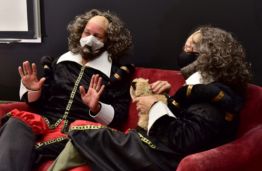 Two men in Shakespeare era clothing