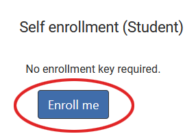 """Screenshot shows """"Self enrollment (Student); No enrollment key required."""" with Enroll me button."""