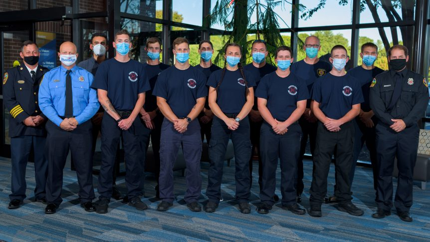 Group of firefighter graduates